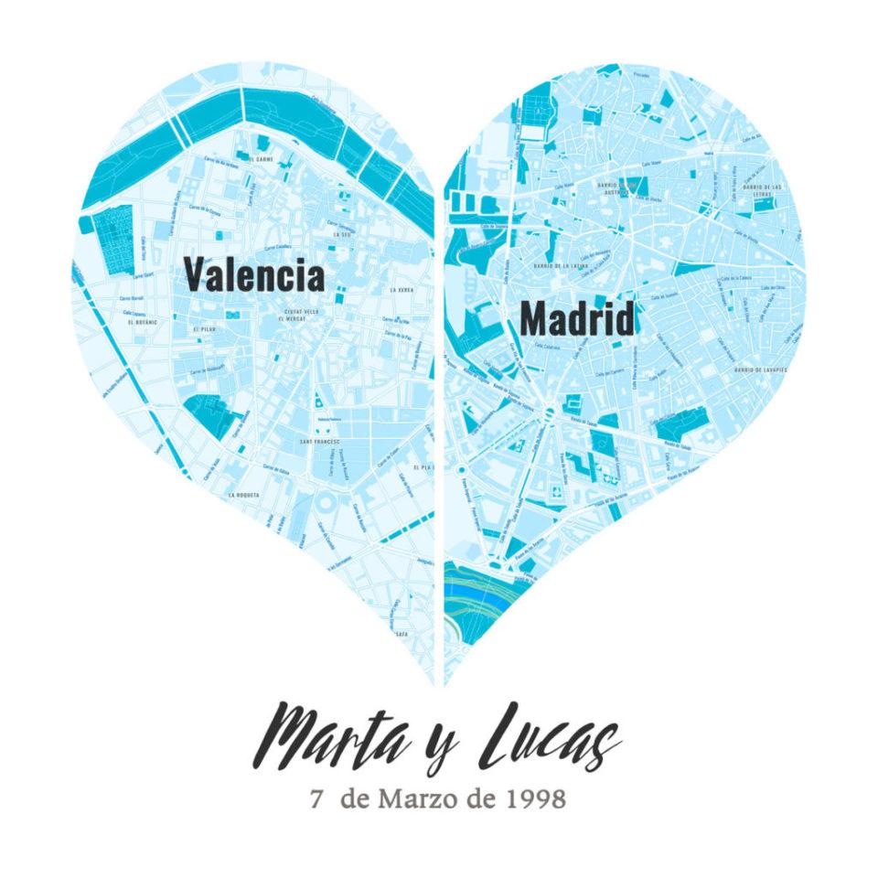 Mapas de corazón para bodas