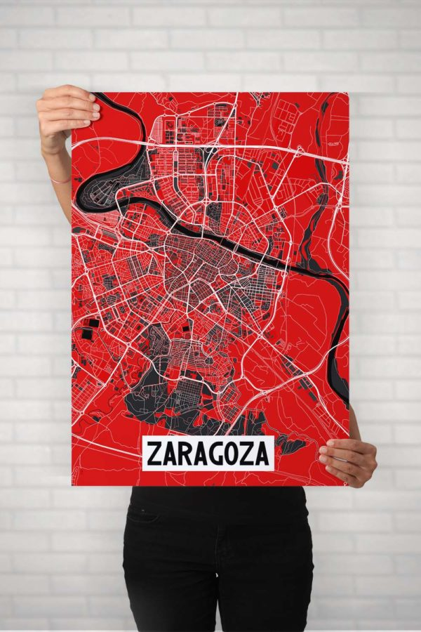 "Poster Zaragoza Ebro ""Negro"""