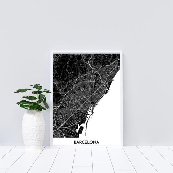 Mapa decorativo de Barcelona en blanco y negro