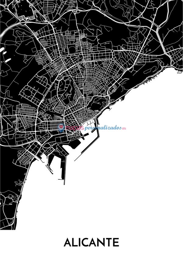 Mapa decorativo de Alicante