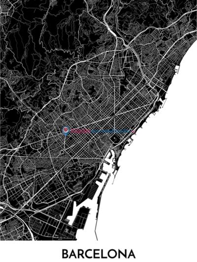 Poster decorativo de Barcelona con mapa en blanco y negro