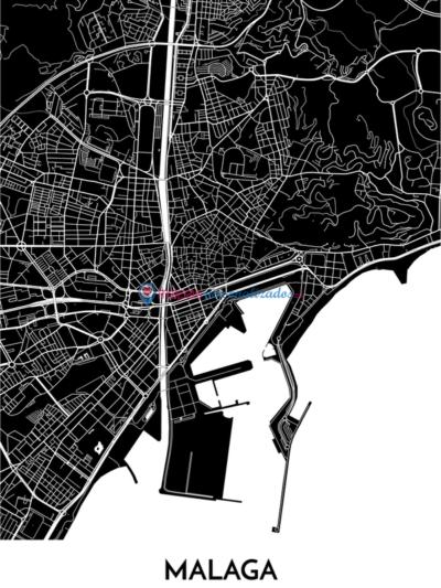 Mapa decorativo de Málaga