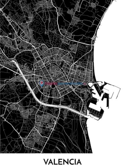 Mapa decorativo de Valencia