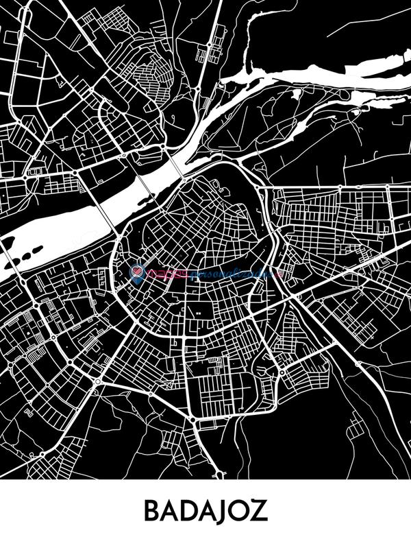 Mapa decorativo de Badajoz