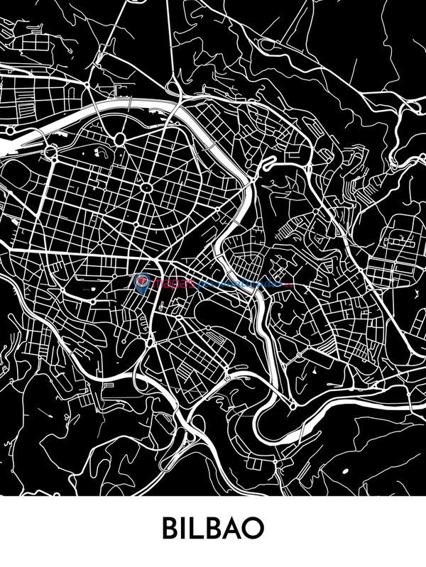 Mapa decorativo de Bilbao
