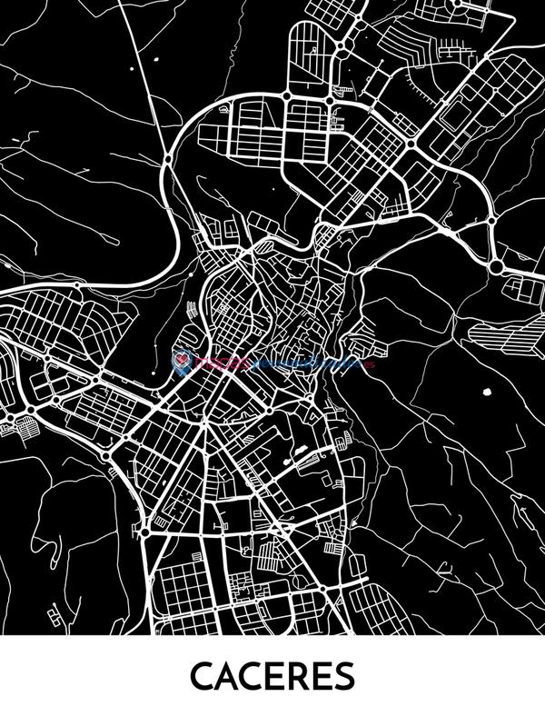 Mapa decorativo de Cáceres