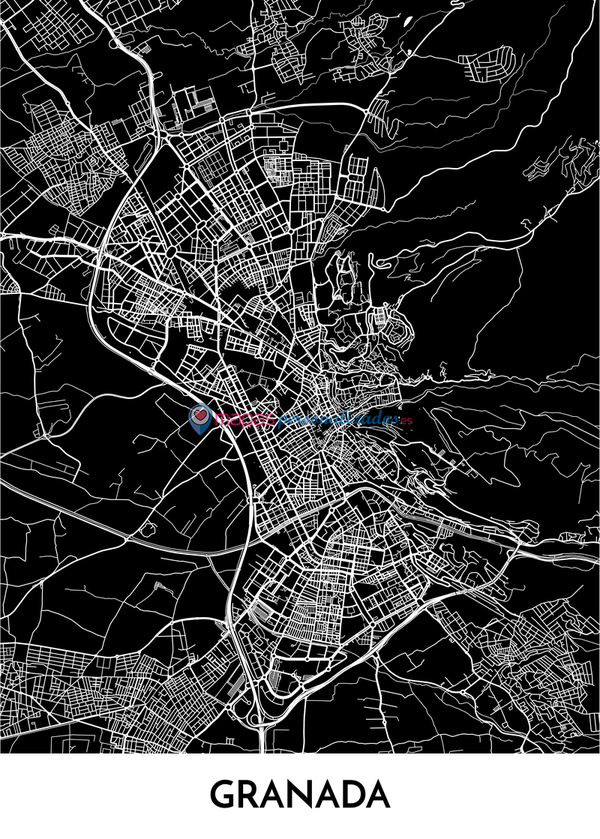 Mapa decorativo de Granada
