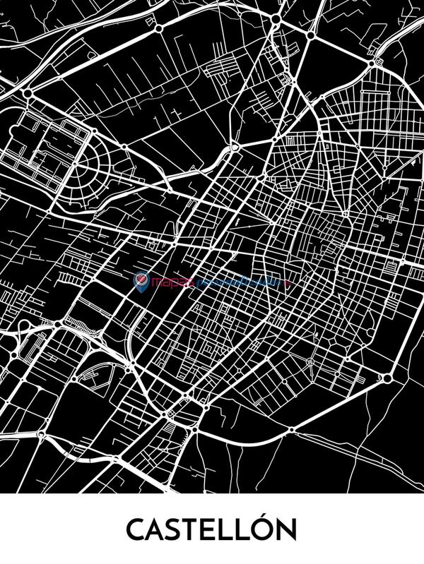 Mapa decorativo de Castellón de la Plana en blanco y negro
