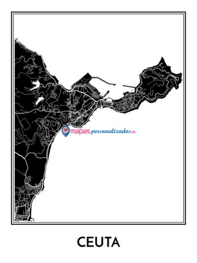 Mapa decorativo de Ceuta en blanco y negro