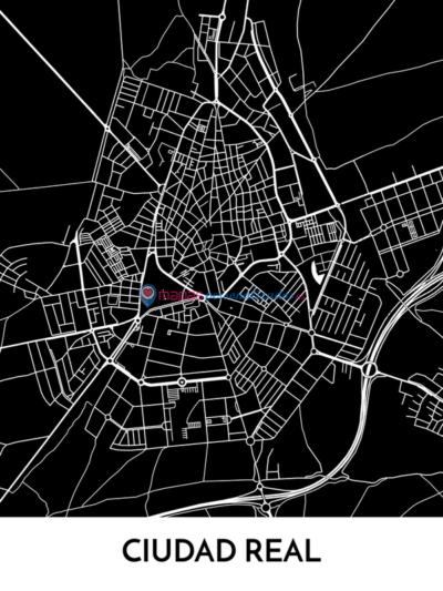 Mapa decorativo de Ciudad Real en blanco y negro