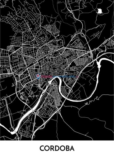 Mapa decorativo de Córdoba en blanco y negro
